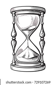 Hourglass. Black and white hand drawn sketch vector illustration isolated on white background.
