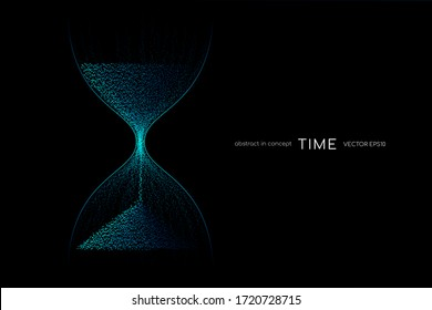 Hourglass from blue green light particles flowing isolated on black background. Vector illustration in concept time, technology, modern