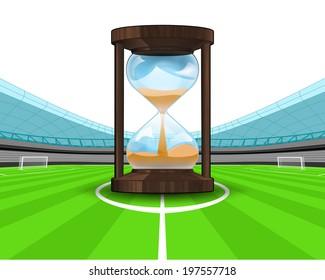 hourglass countdown in the midfield of football stadium vector illustration