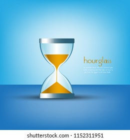 hourglass design on blue background