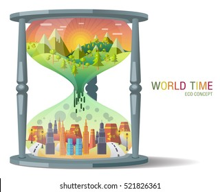 hourglass Ecology Concept Vector. city landscape. Environmental pollution and environment protection.