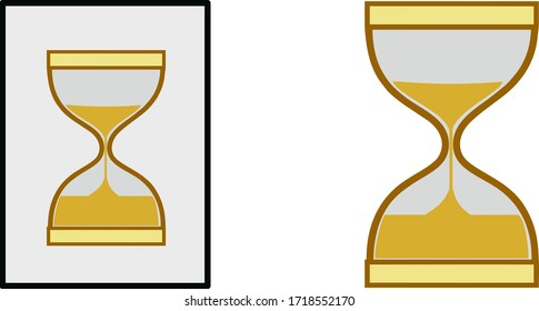 Hourglass in flat style. &  hourglass with frame. Vector