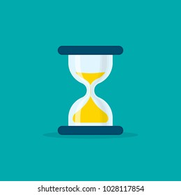 Hourglass flat style illustration. Sandglass or sandclock isolated symbol, flat design vector eps10.