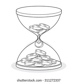 hourglass with gold coins line drawing, business concept vector