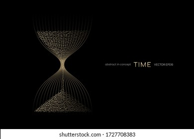Hourglass from gold light particles flowing isolated on black background. Vector illustration in concept time, modern, luxury