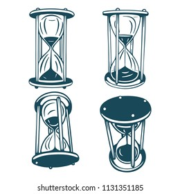 Hourglass. Hourglass hand drawn illustrations set. Hourglass sketch doodle style vector drawing.  Engraving style hourglass.