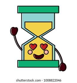 hourglass heart eyes  kawaii icon image