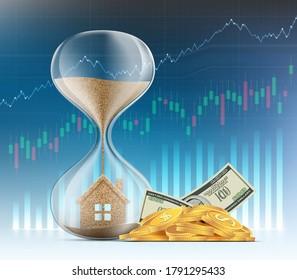 Hourglass mit einem Haus auf dem Hintergrund von Finanzkarten und Grafiken. Immobilienverkäufe und Hypotheken. Vektorgrafik.