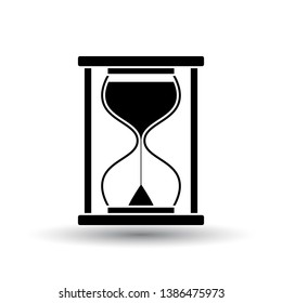 Hourglass Icon. Black on White Background With Shadow. Vector Illustration.