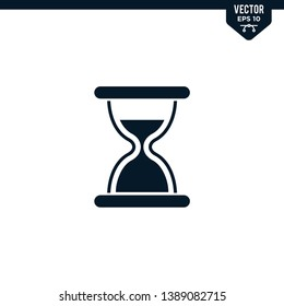Hourglass icon collection in glyph style, solid color vector