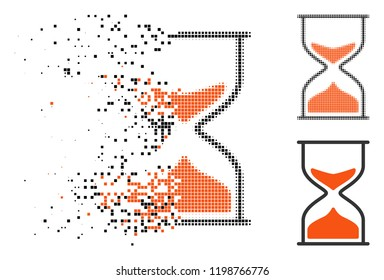 Hourglass icon in dispersed, pixelated halftone and undamaged solid versions. Pixels are composed into vector disappearing hourglass icon. Disintegration effect involves rectangular pixels.