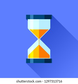 Hourglass icon in flat style, sandglass timer on color background. Vector design element for you project