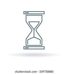 Hourglass icon. Sand glass sign. Traditional timer symbol. Thin line icon on white background. Vector illustration.