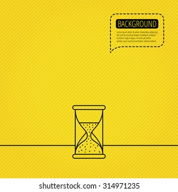 Hourglass icon. Sand time sign. Half an hour symbol. Speech bubble of dotted line. Orange background. Vector