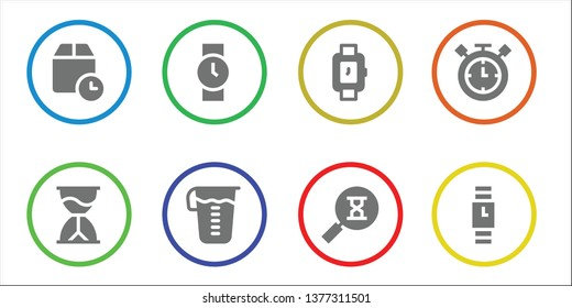 hourglass icon set. 8 filled hourglass icons.  Collection Of - Wait time, Hourglass, Wristwatch, Measuring glass, Sandclock, Timer