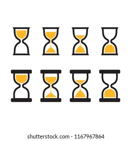 Hourglass icon set in two styles, four stages of sand. Simple and minimal vector user interface icons.