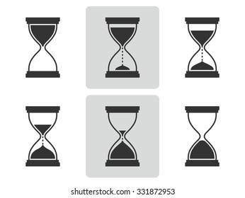 Hourglass icons set.  Different positions of sandglass. Vector  illustration.