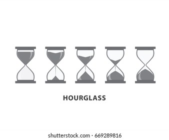 Hourglass icons set vector illustration on white background.