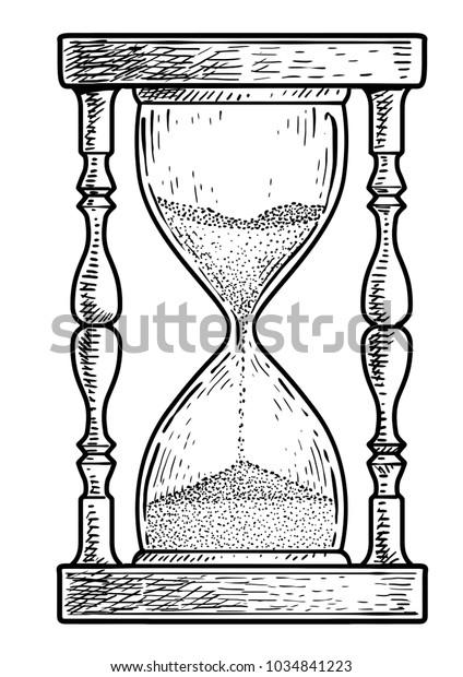 Vetor Stock De Ilustracao De Ampulheta Desenho Gravura Tinta