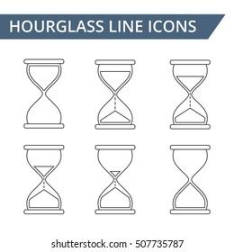 Hourglass line icons set, vector eps10 illustration