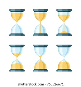 Hourglass modern vector icons set. Isolated on white background
