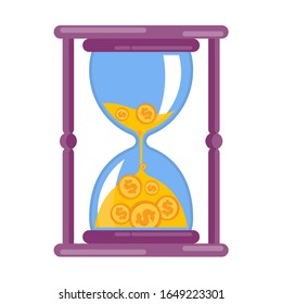 Hourglass with money. Flat vector cartoon illustration. Objects isolated on a white background.