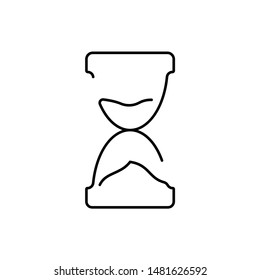 Hourglass - one line design style illustration isolated on white background. Time management, deadline concept. High quality image for your presentation