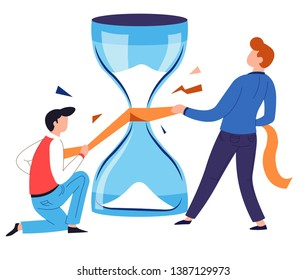 Hourglass repairing saving time concept isolated character vector management and advanced planning deadline date and productivity sandclock and stripe or ribbon teamwork and cooperation business