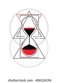 Hourglass. Sacred geometry. White, black and red. Vector illustration isolated. Tattoo design, mystic time symbol for your use.
