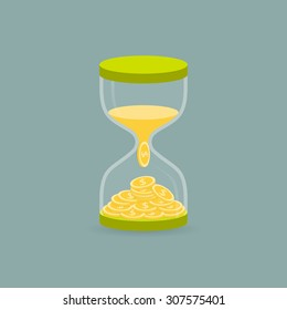 Hourglass. The sand is converted into money. The concept of the transformation of time into money. Vector illustration.