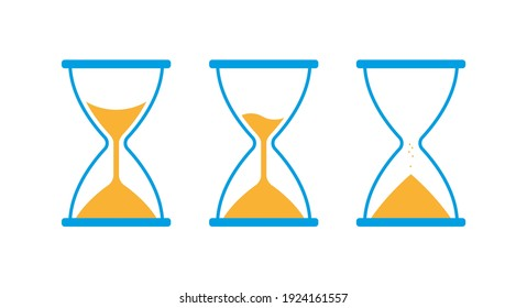 Hourglass, sandglass icon set. Blue and yellow classic sandglass. Flat vector illustration isolated on white.