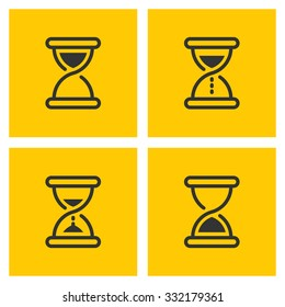 Hourglass set of four vector outline black icons on yellow background