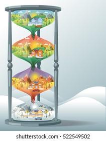 hourglass shapes  landscape design set with Winter, Spring, Summer, Autumn. houses, 4 seasons set.