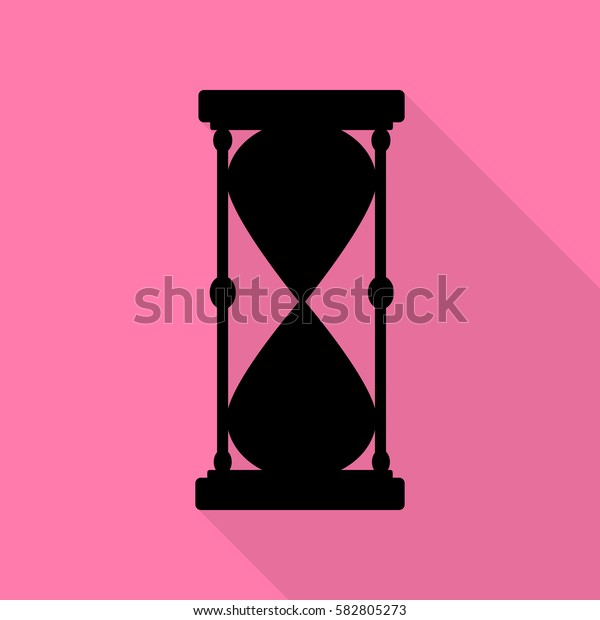 Hourglass sign illustration. Black icon with flat style shadow path on pink background.