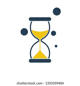 Hourglass silhouette flat icon. Vector illustration cartoon design. Isolated on white background. Time pictogram.
