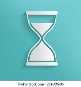 Hourglass symbol on blue background,clean vector