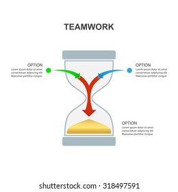 Hourglass - Teamwork and Focus on Results - 2 in 1 vertical converging Aarows, vector Infographicisolated on a white background