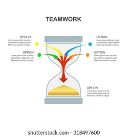 Hourglass - Teamwork and Focus on Results - 4 in 1 vertical converging Aarows, vector Infographicisolated on a white background