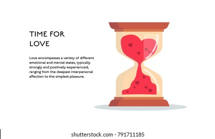 Hourglass time concept vector flat poster design. Illustration with place for text and heart for st. valentines day. Time for love
