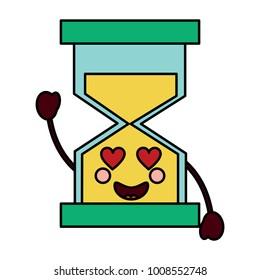 hourglass time love kawaii character