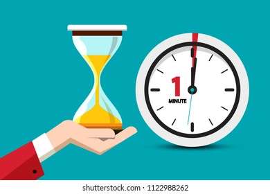 Hourglass Time Symbol on Blue Background. Sand Clock One Minute Vector Flat Design Icon.