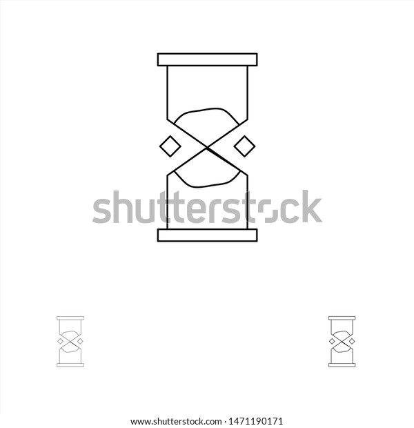 Hourglass Time Timer Watch Sand Bold Stock Vector (Royalty