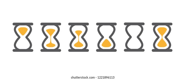 Hourglass various icons for animation frames. Gray sandglass, sandclock, countdown and process timer collection on white background.