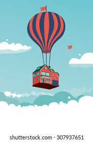House above the clouds. Template for invitation and greeting cards.