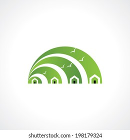 House abstract real estate countryside icon design template.