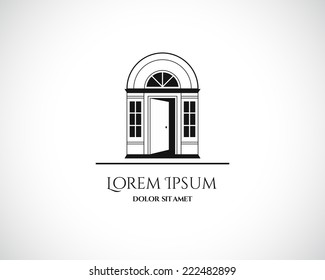 House Abstract Real Estate Residential Logo Design Template for Company. Building Vector Black Silhouette on White Background