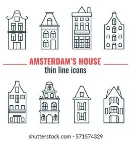 House of Amsterdam thin line icons set. Vector Illustration set of building Amsterdam outline for design, website, background, card. Travel Holland Landmark silhouette Element for Tourism Flier.