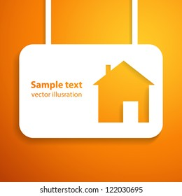 House applique background. Vector illustration for your business presentation. Picture of the cute orange home.