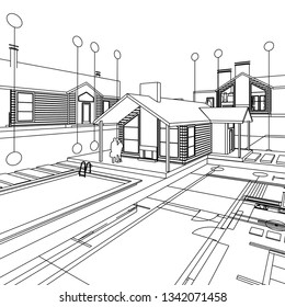 House architectural project 3D illustration