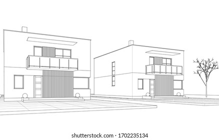 house architectural sketch 3d illustration 260nw 1702235134